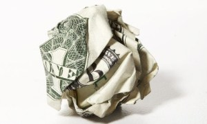 crumpled currency
