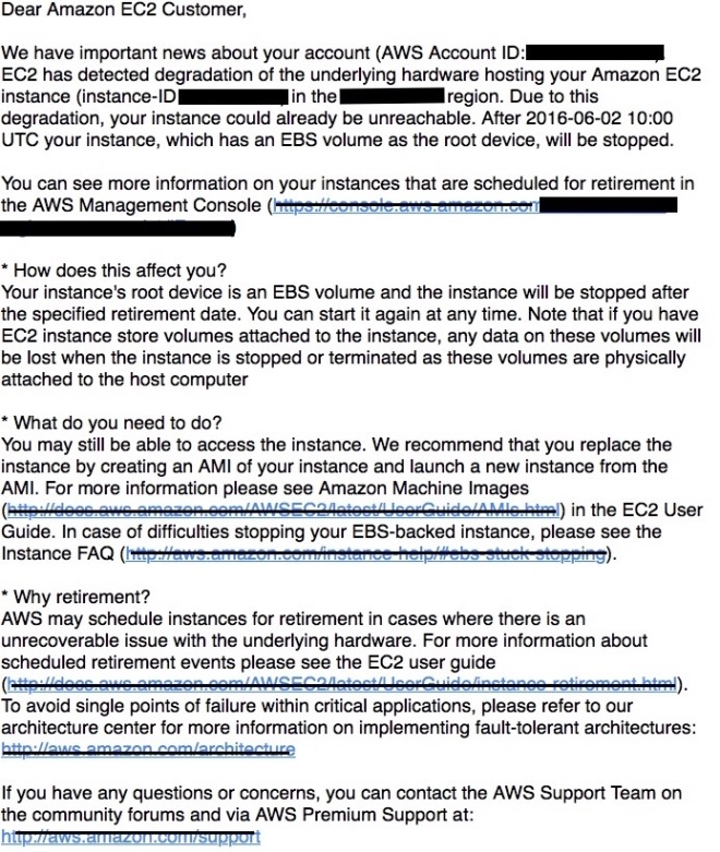 AWS instance retirement email redacted pic