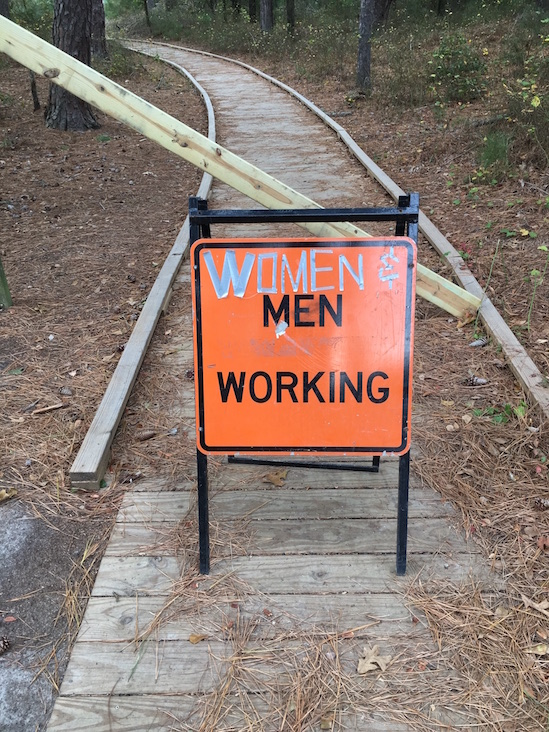 women and men working