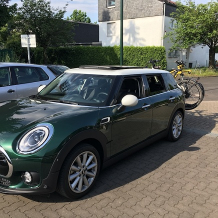 Mini Clubman with hitch bike rack side 1