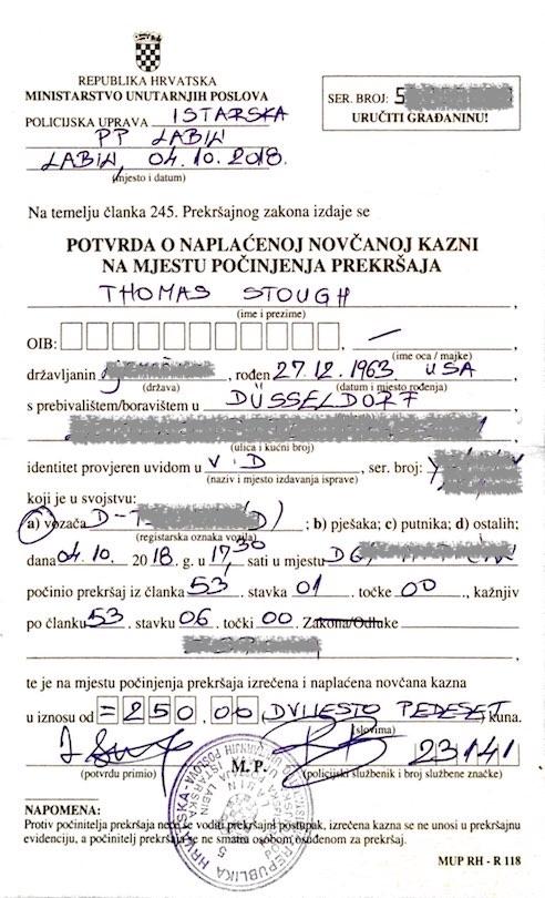 speeding ticket Croatia