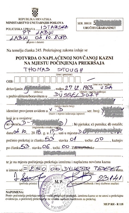 speeding ticket Croatia