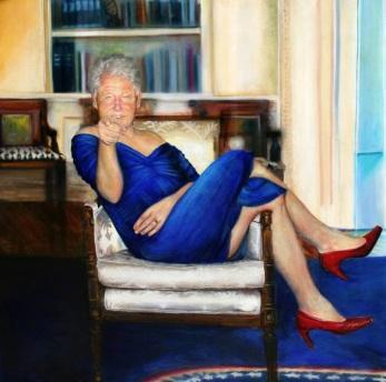 clinton blue dress painting